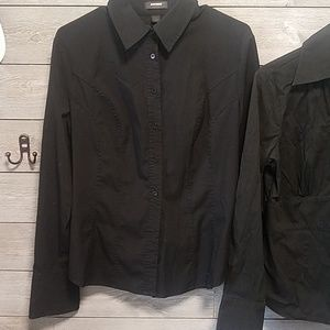 Express Tops - 2 black long sleeve button ups